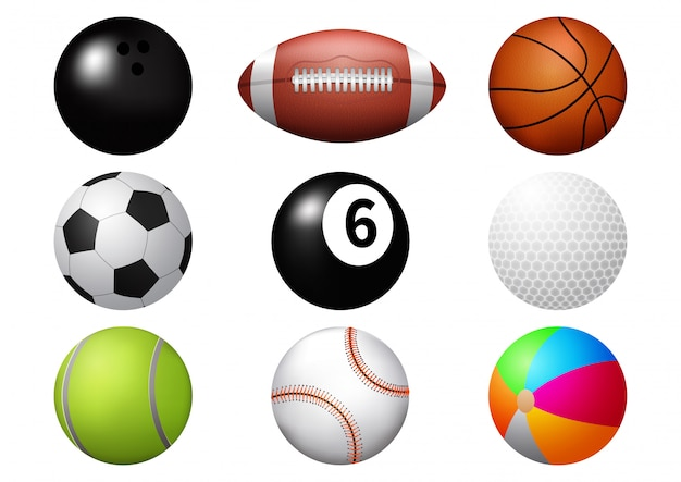 Conjunto de iconos de pelota deportiva.