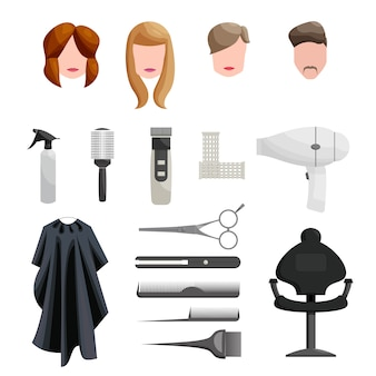 Conjunto de iconos de peluquería, estilo de dibujos animados