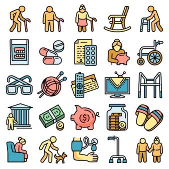 Conjunto de iconos de pensiones, estilo de contorno