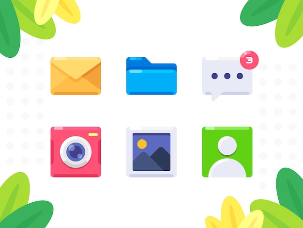 Conjunto de iconos pequeños. correo, carpeta, mensaje con notificación, cámara, galería de fotos, contacto. icono de estilo plano