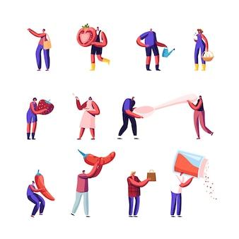 Conjunto de iconos pequeños personajes masculinos y femeninos