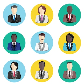 Conjunto de iconos de perfil de avatar de usuario
