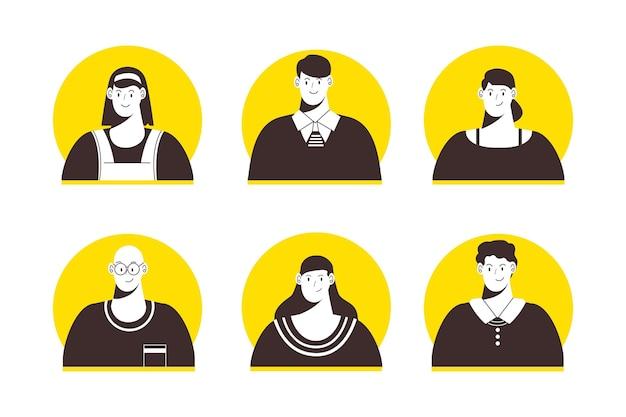 Conjunto de iconos de perfil de diseño plano