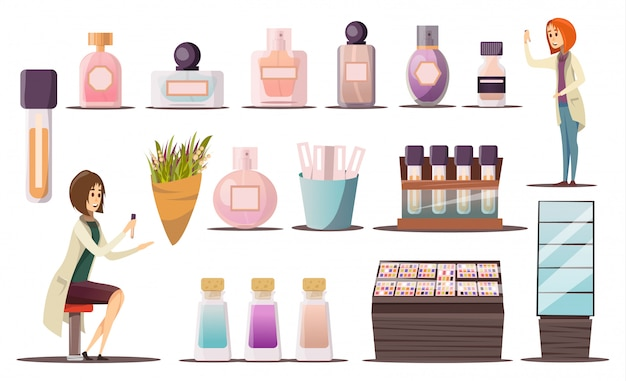 Conjunto de iconos de perfumería con esquinas cosméticas, escaparates y productos cosméticos.