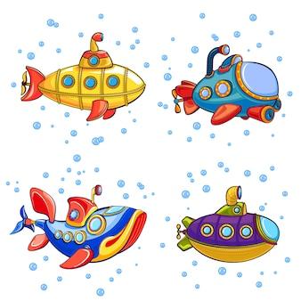 Conjunto de iconos de periscopio. conjunto de dibujos animados de iconos de periscopio