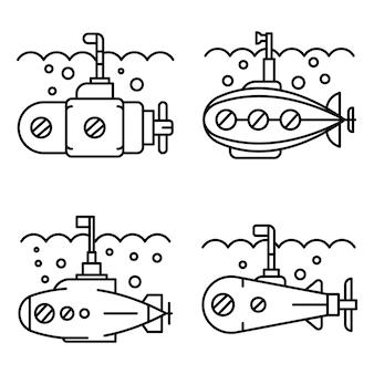 Conjunto de iconos de periscopio. conjunto de esquema de iconos de vector de periscopio