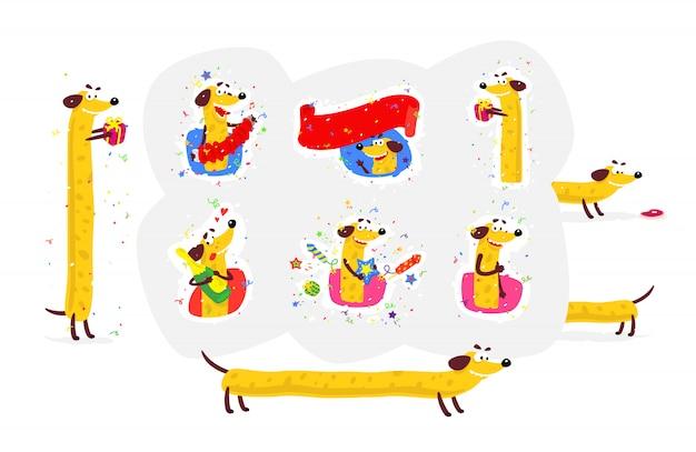 Conjunto de iconos de un perro amarillo