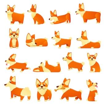 Conjunto de iconos de perros corgi, estilo de dibujos animados