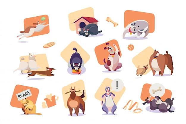 Conjunto de iconos de perros divertidos, ilustración de vector de personaje de dibujos animados lindo mascota