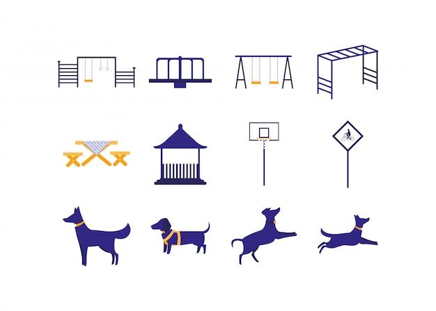 Conjunto de iconos de perros y juguetes de parque aislado