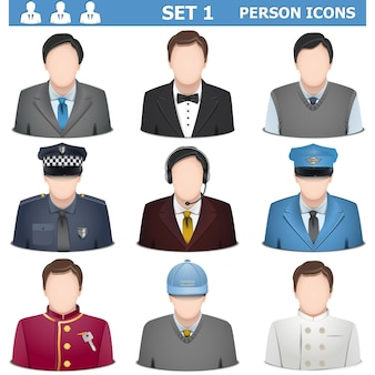 Conjunto de iconos de persona 1 aislado sobre fondo blanco.