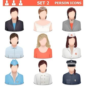 Conjunto de iconos de persona 2 aislado sobre fondo blanco.