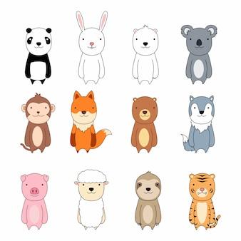 Conjunto de iconos de personaje de dibujos animados animal lindo