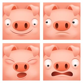 Conjunto de iconos de personaje de dibujos animados de cerdo