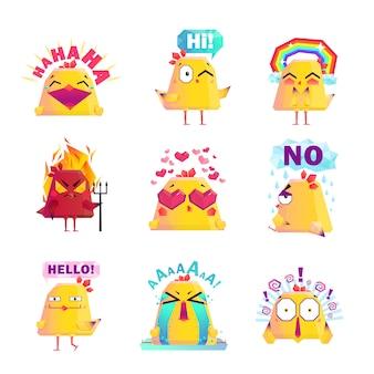 Conjunto de iconos de personaje de dibujos animados de pollo divertido