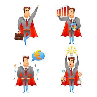 Conjunto de iconos de personaje de empresarios de superhéroe