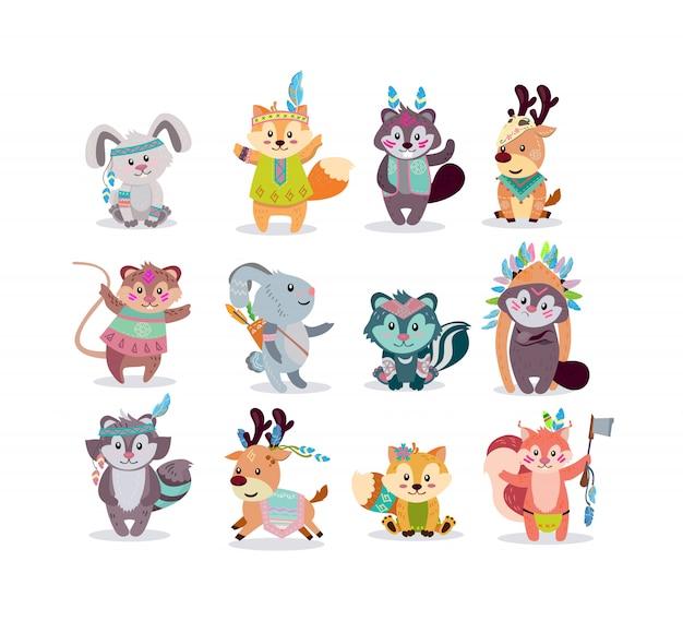 Conjunto de iconos de personajes de bosque boho