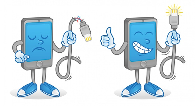 Conjunto de iconos de personajes de dibujos animados gadget de teléfono móvil inteligente que mantiene un cable usb diferente para cargar el teléfono con batería