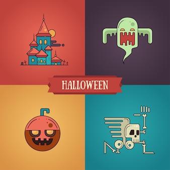 Conjunto de iconos de personajes de diseño plano de línea moderna