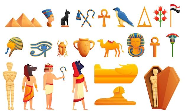 Conjunto de iconos y personajes de egipto, estilo de dibujos animados