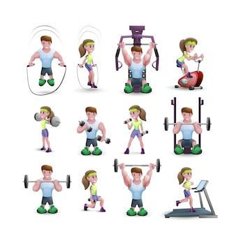 Conjunto de iconos de personajes de fitness