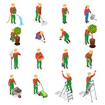 Conjunto de iconos de personajes de jardinero