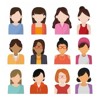 Conjunto de iconos de personajes sin rostro de personas