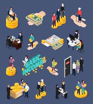 Conjunto de iconos y personajes de la seguridad social