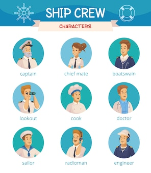 Conjunto de iconos de personajes de la tripulación del barco