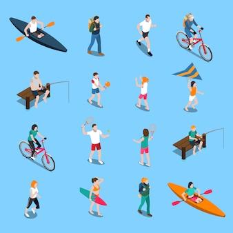 Conjunto de iconos de personas de actividad al aire libre de verano