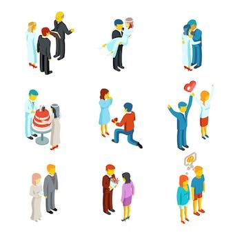 Conjunto de iconos de personas de boda y relación 3d isométrica. amor de pareja, gente mujer y hombre familia