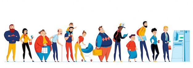 Conjunto de iconos de personas en cola con diferentes personas esperando en línea a la ilustración del cajero automático
