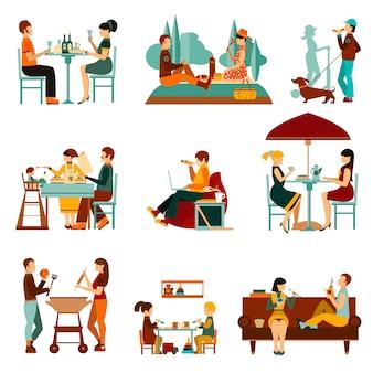 Conjunto de iconos de personas comiendo