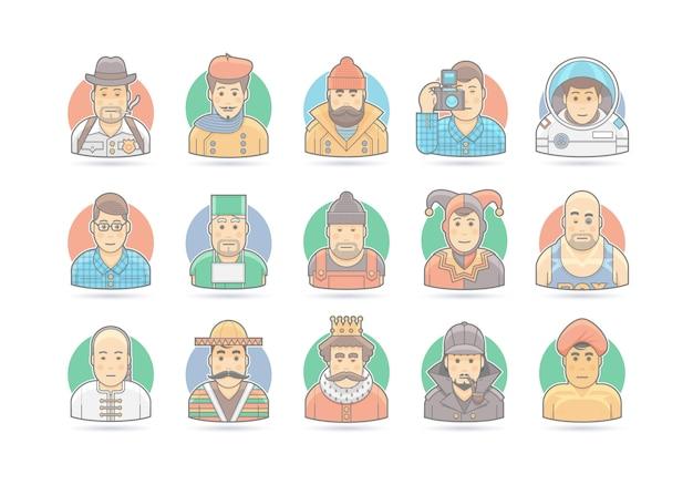Conjunto de iconos de personas de dibujos animados. ilustración de personaje. en blanco