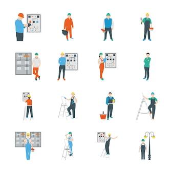 Conjunto de iconos de personas eléctricas