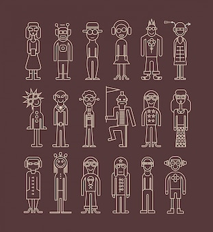 Conjunto de iconos de personas esquema