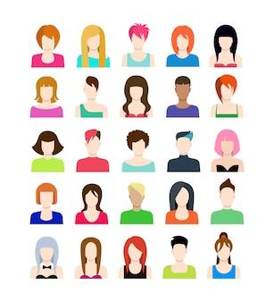 Conjunto de iconos de personas en estilo plano con caras