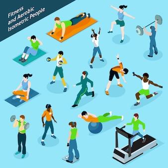 Conjunto de iconos de personas isométrica aeróbica fitness