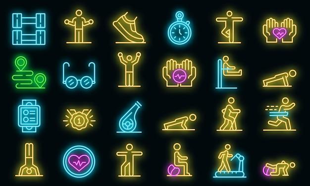Conjunto de iconos de personas mayores de entrenamiento. esquema conjunto de iconos vectoriales de personas mayores de entrenamiento color neón en negro