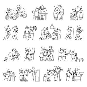 Conjunto de iconos de personas mayores, estilo simple
