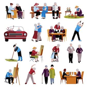 Conjunto de iconos de personas mayores