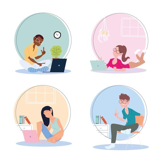 Conjunto de iconos de personas que trabajan desde casa, ilustración de teletrabajo