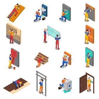Conjunto de iconos de personas trabajador de reparación de viviendas