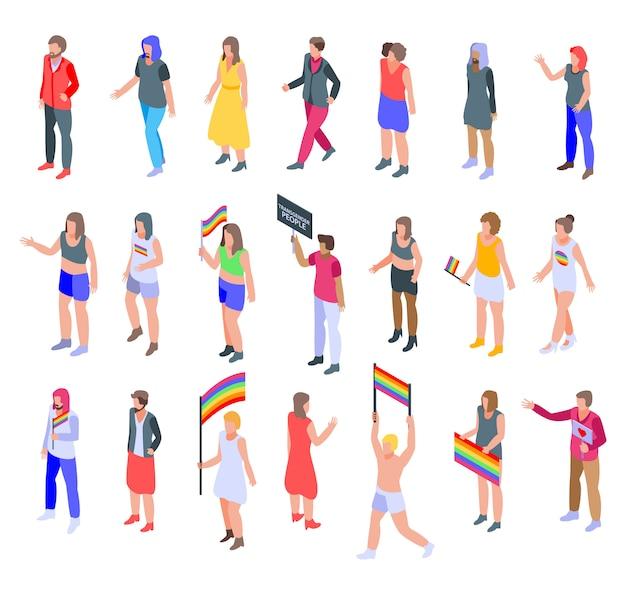 Conjunto de iconos de personas transgénero, estilo isométrico