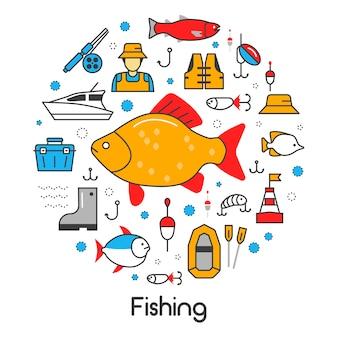Conjunto de iconos con pescador y herramientas
