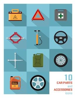 Conjunto de iconos de piezas y accesorios de coche sobre fondo azul.