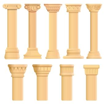 Conjunto de iconos de pilar, estilo de dibujos animados