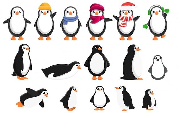 Conjunto de iconos de pingüino, estilo de dibujos animados