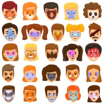 Conjunto de iconos de pintura facial, estilo de dibujos animados