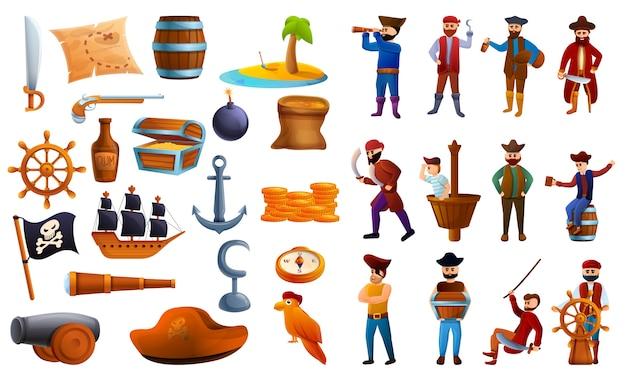 Conjunto de iconos de pirata, estilo de dibujos animados